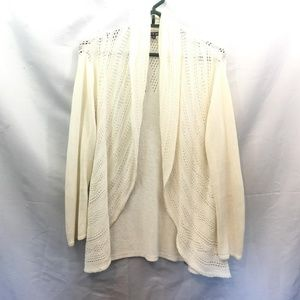 🍩 Cable & Gauge Size M White Open Front Cardigan